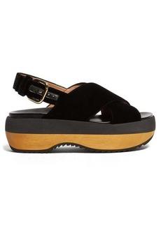 Marni Cross-strap velvet flatform sandals