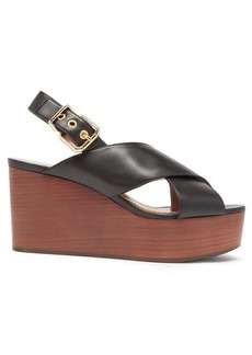 Marni Crossover leather wedge sandals