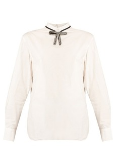 Marni Crystal-bow high-neck blouse