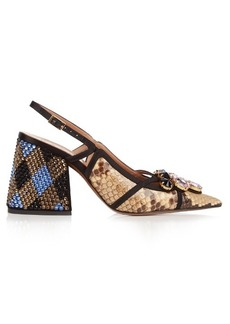 Marni Crystal-embellished block-heel python pumps