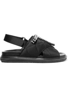 Marni Crystal-embellished quilted satin sandals