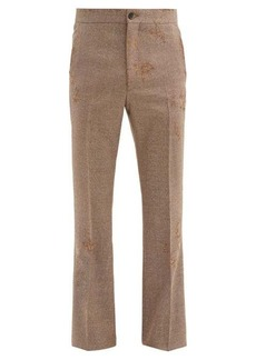 Marni Distressed tailored wool-twill trousers