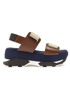Marni Double-strap leather and neoprene flatform sandals