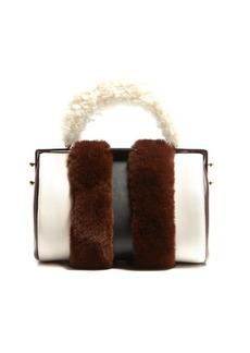 Marni Duffle Tag fur-trimmed leather bag