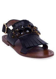 Marni Embellished Leather Tassel Ankle Strap Sandals