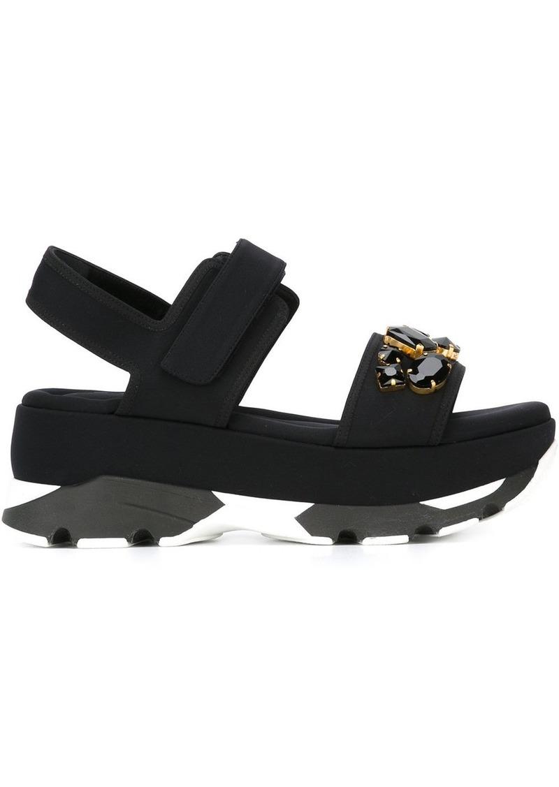 Marni embellished wedge sandals - Black