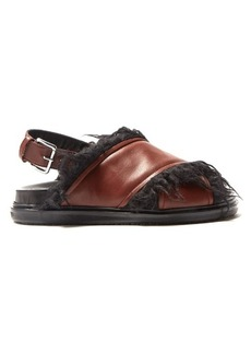 Marni Faux-fur lined leather sandals