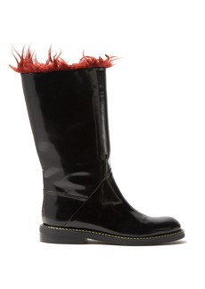 Marni Faux-fur trimmed leather boots