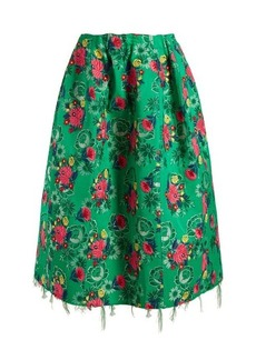 Marni Floral-brocade gathered midi skirt