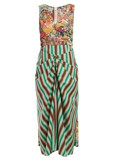 Marni Floral-print and striped-crepe dress