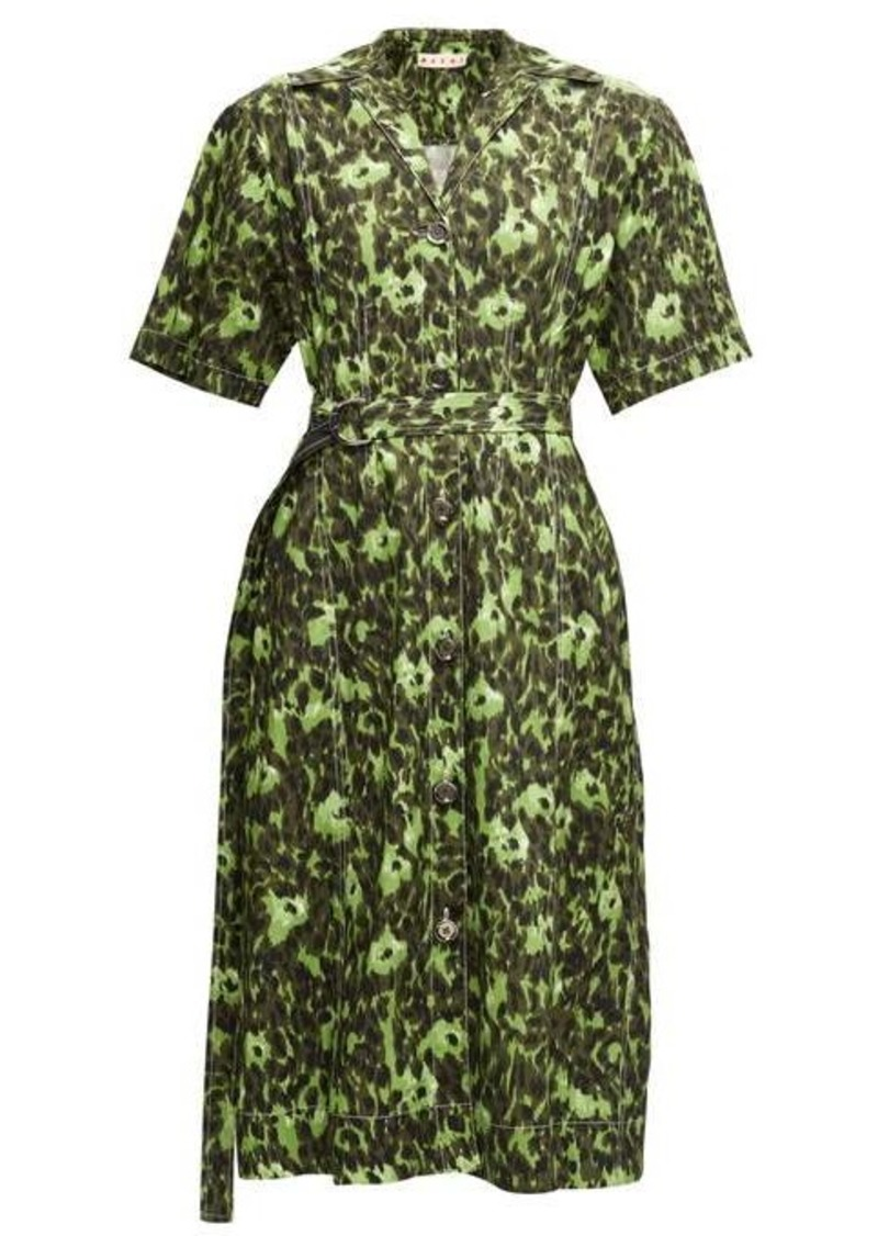 Marni Floral-print cotton-blend shirtdress