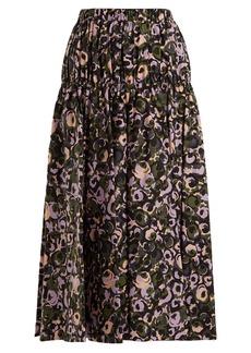 Marni Floral-print cotton midi skirt