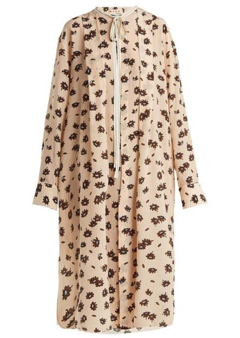 Marni Floral-print crepe de Chine silk dress