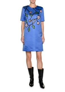 Marni Floral-Print Duchesse Satin Shift Dress