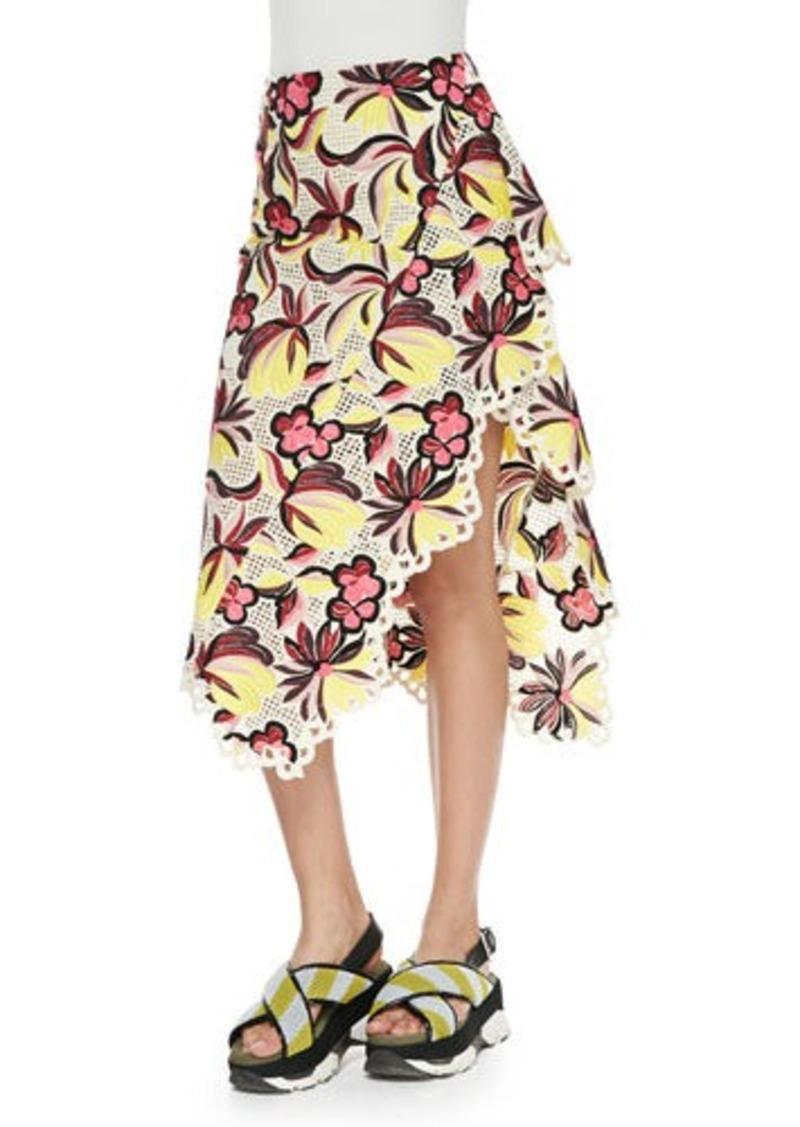 Marni Floral-Print Eyelet-Trim Asymmetric Skirt