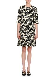 Marni Floral-Print Half-Sleeve Round-Neck Shift Dress