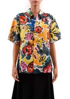 Marni Floral Print Ramie Button-Up Shirt