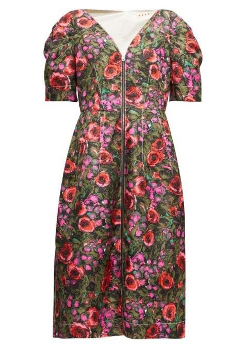 Marni Zip-through floral-print cotton-blend midi dress