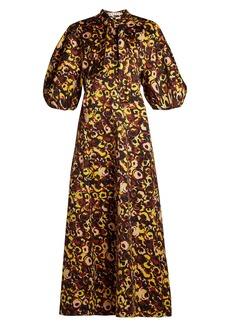 Marni Floral-print tie-neck cotton dress