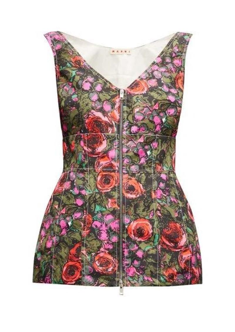 Marni Zipped floral-print peplum-hem faille top