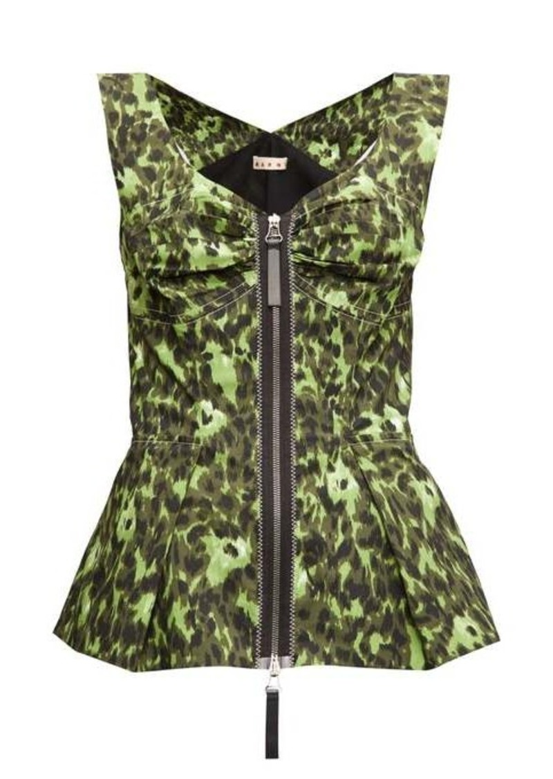 Marni Abstract-print zipped peplum-hem top