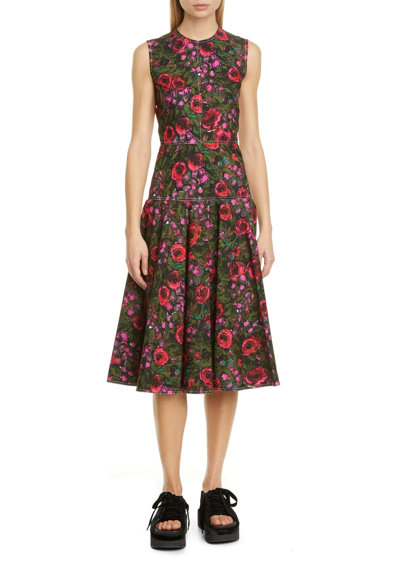Marni Floral Sleeveless Cotton Poplin Midi Dress
