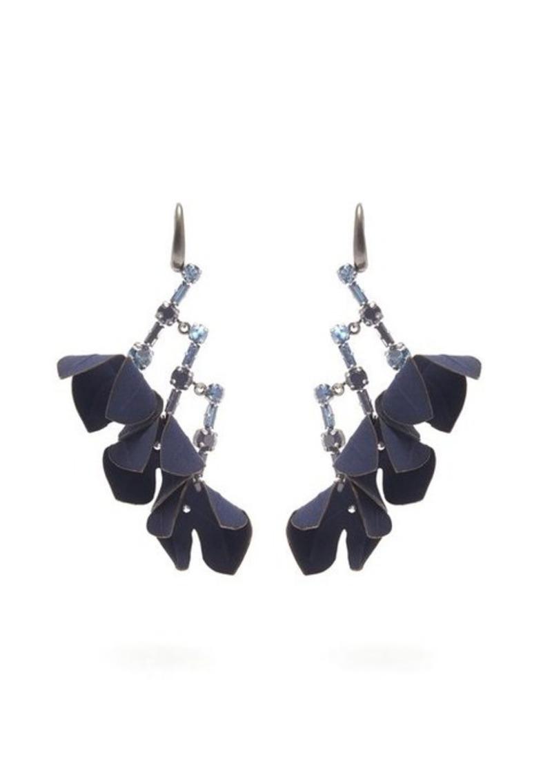 Marni Flower & crystal drop earrings