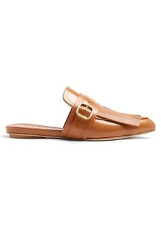 Marni Fringed leather backless loafers