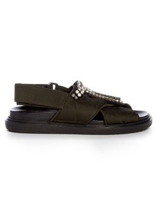 Marni Fussbett crystal-embellished quilted-satin sandals