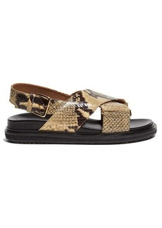 Marni Fussbett python-effect slingback sandals