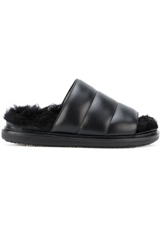 Marni Fussbett quilted shearling sliders - Black
