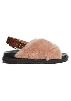 Marni Fussbett shearling and leather slingback sandals