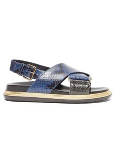 Marni Fussbett snake-effect leather slingback sandals