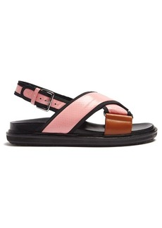 Marni Fussbett snake-effect leather slingback sandals