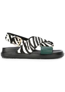 Marni Zebra print Fussbett pony leather sandals - Black