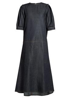 Marni Gathered-back raw-denim dress