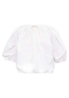 Marni Gathered-neck poplin blouse
