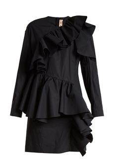 Marni Gathered-ruffle long-sleeved cotton mini dress