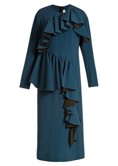 Marni Gathered-ruffle long-sleeved crepe dress