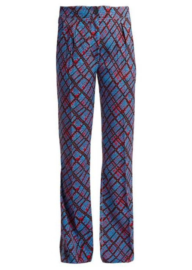 Marni Geometric-print flared trousers