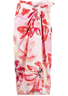 Marni clematis print tie-front skirt