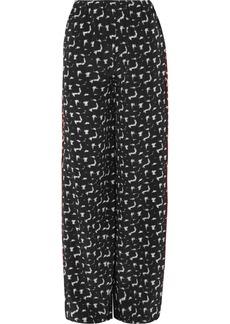 Gothica printed silk crepe de chine wide-leg pants