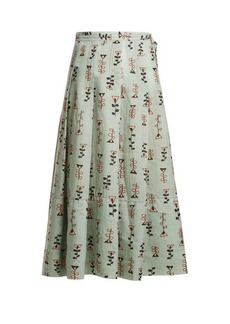 Marni Graphic-print pleated midi skirt