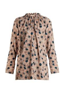 Marni Grasses-print ruffled-neck twill blouse