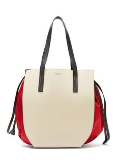 Marni Gusset leather and shell drawstring tote bag