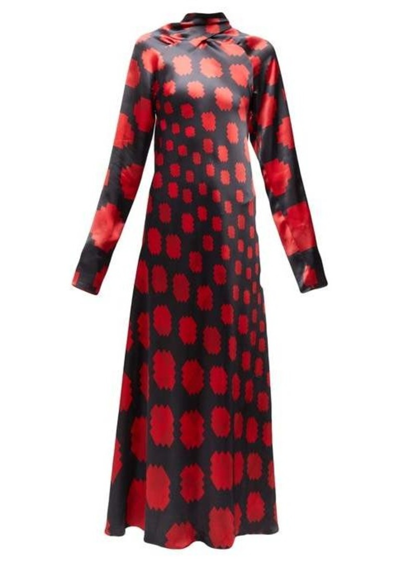 Marni High-neck pixel-print satin maxi dress