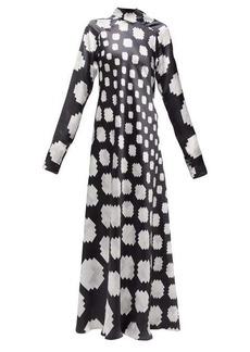 Marni High-neck pixel-print satin maxi dress