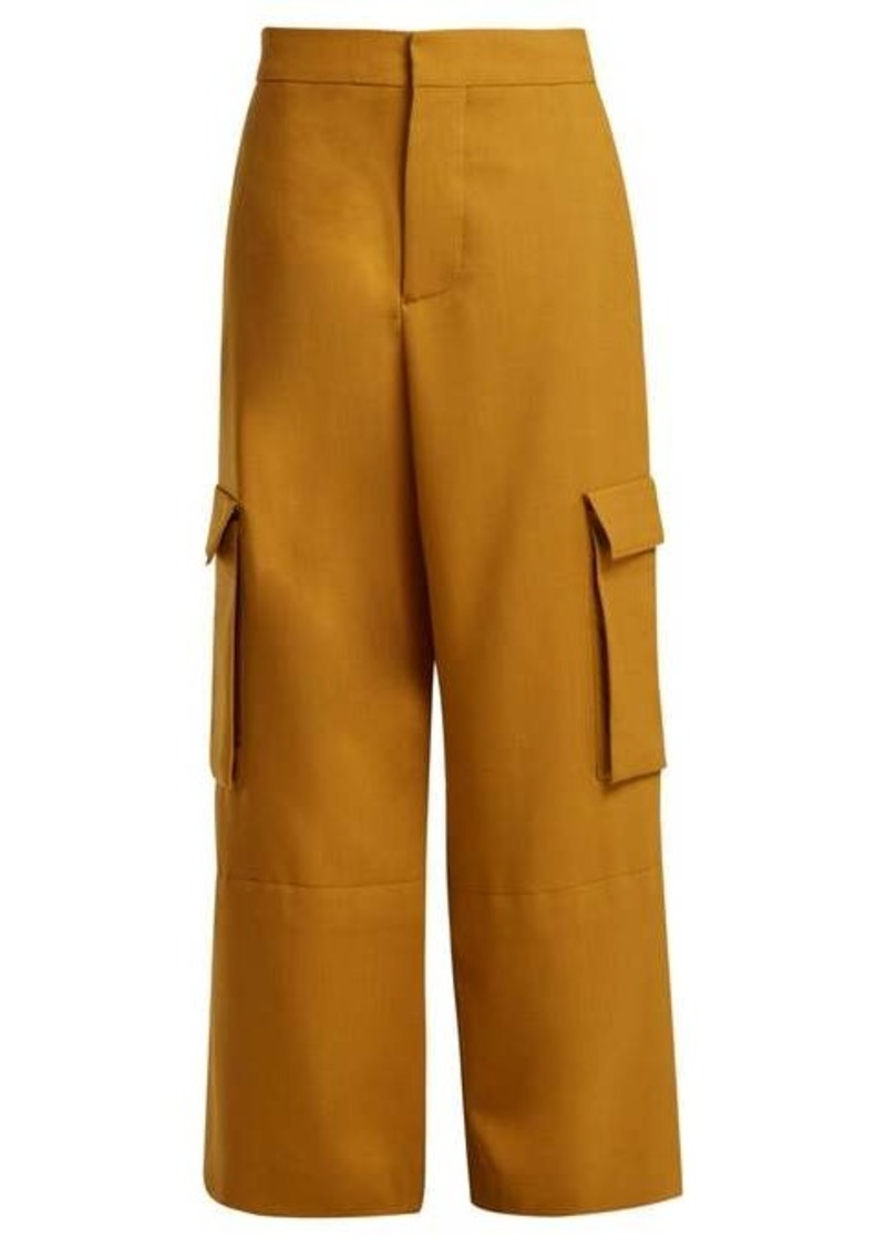 Marni High-rise cargo wool trousers