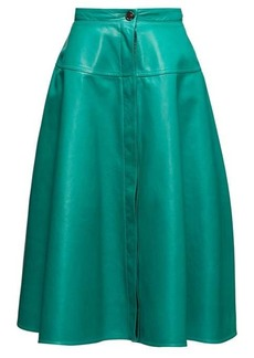 Marni High-rise leather A-line skirt