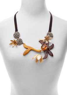 """Marni Horn and Strass Flower Statement Necklace, 24"""""""